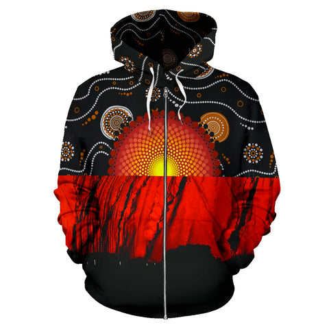 Image of 1stTheWorld Zip Hoodie Australia Aboriginal Flag K5