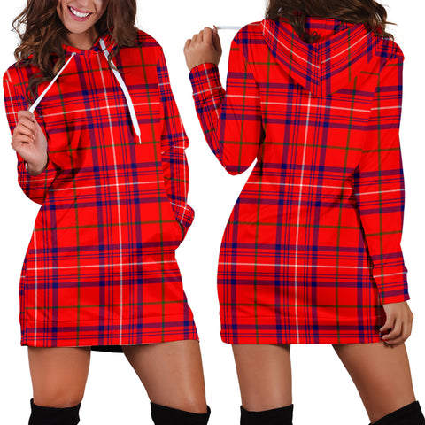Rose Modern Tartan Hoodie Dress HJ4