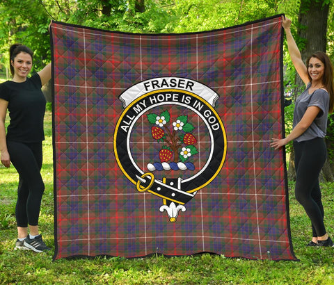 Image of Fraser Hunting Modern Tartan Clan Badge Premium Quilt | 1sttheworld.com