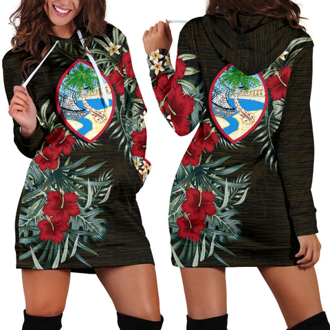 Image of Guam 2 Hibiscus Hoodie Dress A7