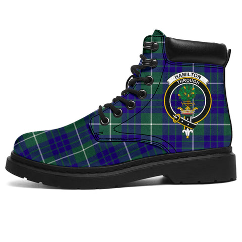 Image of Hamilton Hunting Modern Tartan Clan Crest All-Season Boots HJ4