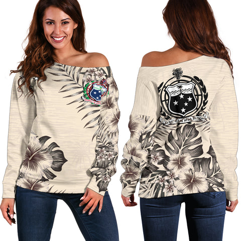 Samoa The Beige Hibiscus Off Shoulder Sweater A7