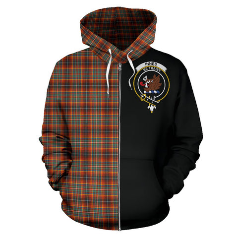 Innes Ancient Tartan Hoodie Half Of Me | 1sttheworld.com