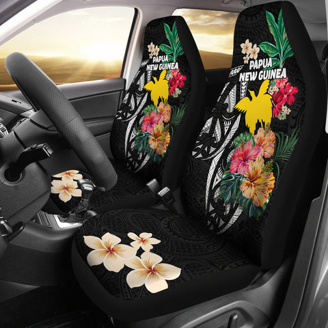 Papua New Guinea Car Seat Covers Coat Of Arms Polynesian With Hibiscus
