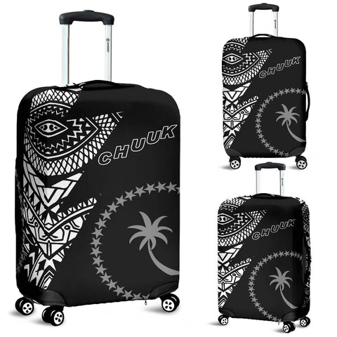Chuuk Pattern Luggage Covers  - Black Style - FSM - BN912