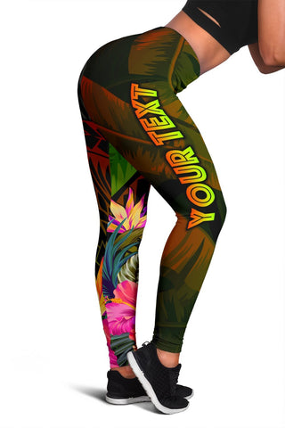 American Samoa Polynesian Personalised Women's Leggings -  Hibiscus and Banana Leaves