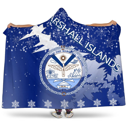 Marshall Islands Coat Of Arms Hooded Blanket - Red - X Style - J82