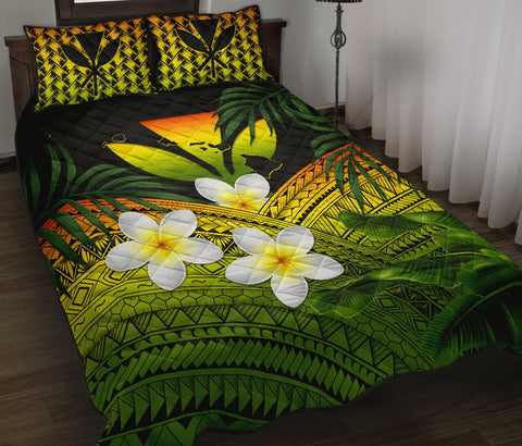 Image of Kanaka Maoli (Hawaiian) Quilt Bed Set, Polynesian Plumeria Banana Leaves Reggae | Love The World