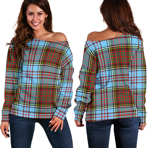 Tartan Womens Off Shoulder Sweater - Anderson Ancient - Bn | 1sttheworld.com