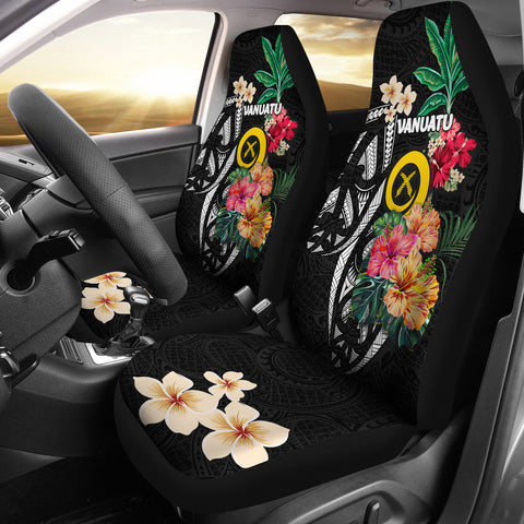 Image of Vanuatu Car Seat Covers Coat Of Arms Polynesian With Hibiscus-2