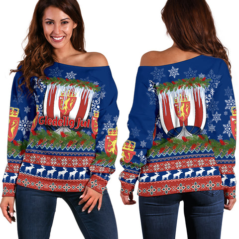 Norway Viking Ship Christmas Women's Off Shoulder Sweater