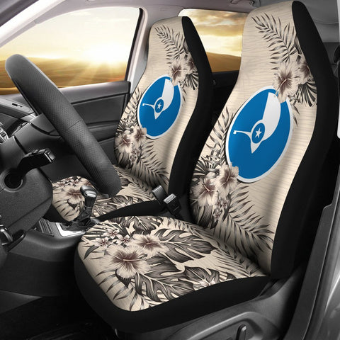 Yap Car Seat Covers - The Beige Hibiscus (Set of Two) | High Quality