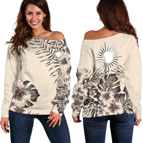 Image of Marshall Islands 2 The Beige Hibiscus Off Shoulder Sweater A7