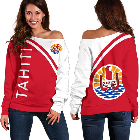 Tahiti Women's Off Shoulder Sweater - Curve Version - Bn04 | 1sttheworld.com