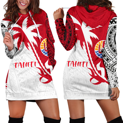 Tahiti Polynesian Coconut Tree Hoodie Dress K4 |Women's Clothing| 1sttheworld