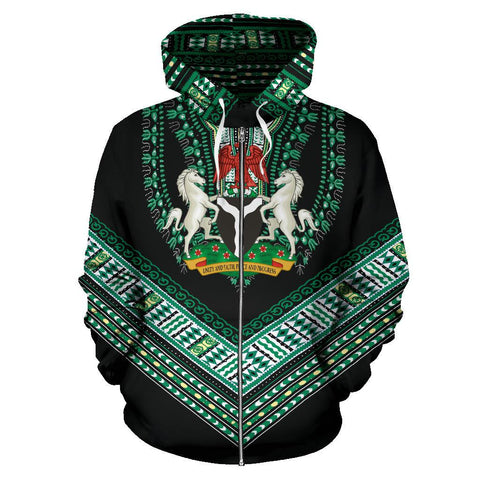 Nigerian Coat of Arms Dashiki Zip Hoodie K5