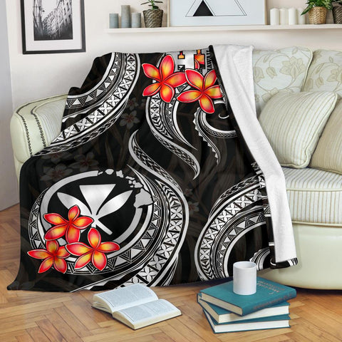 Image of Polynesian Hawaii Premium Blanket - Black Plumeria