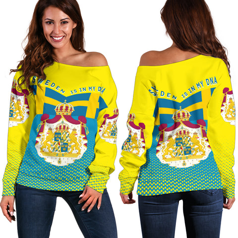 Image of Sweden Off Shoulder Sweater - Sweden Victory - Yellow mix Blue - Front and Back - For Women