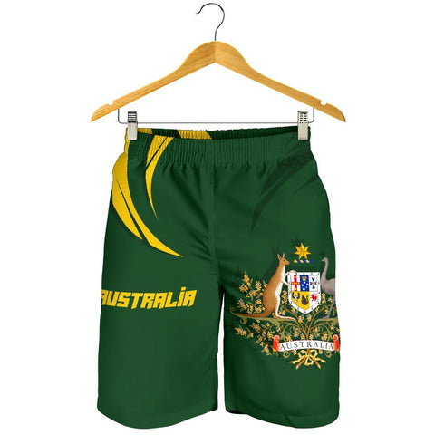 1stTheWorld Australia Men Shorts, Australia Coat Of Arms Green A10