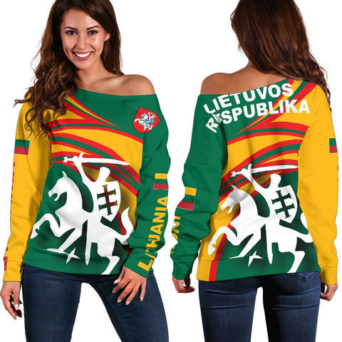 Lithuania Off Shoulder Sweater N Flag A15