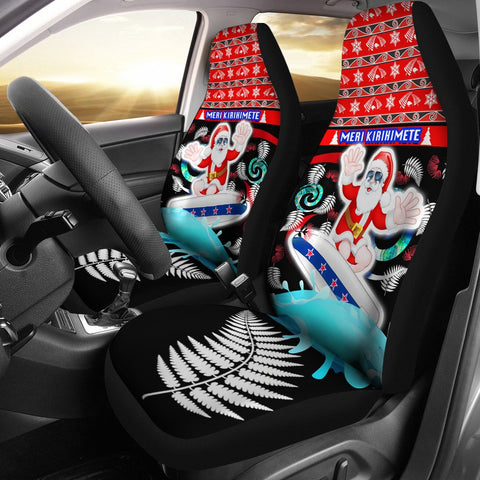 New Zealand Santa Christmas Car Seat Covers Pohutukawa Fern And Kiwi 1 | 1sttheworld.com
