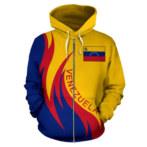 Image of Venezuela Hoodie (Zip) Coat Of Arms Fire Style