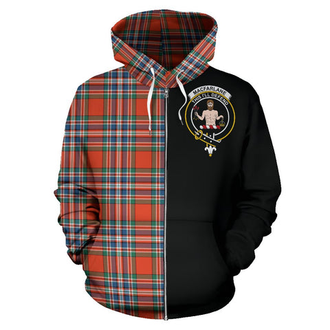 Image of MacFarlane Ancient Tartan Hoodie Half Of Me | 1sttheworld.com