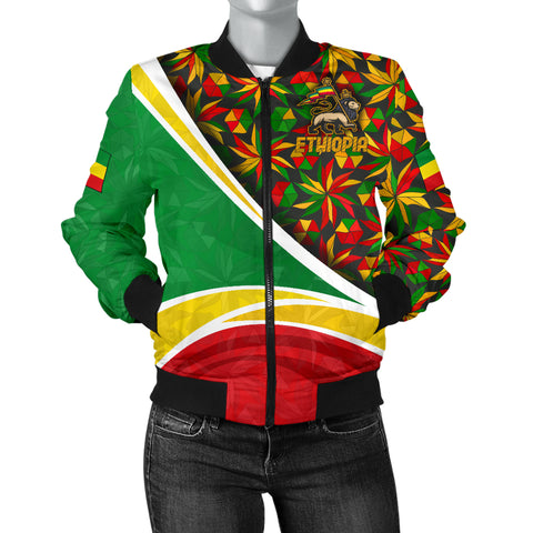 1stTheWorld Ethiopia Bomber Jacket, Ethiopia Lion Of Judah Flag Rasta Women A10