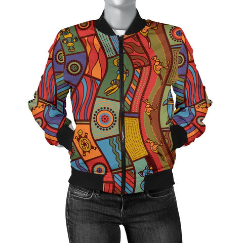 Australia Women's Bomber Jacket - Aboriginal Art With Animals - BN17