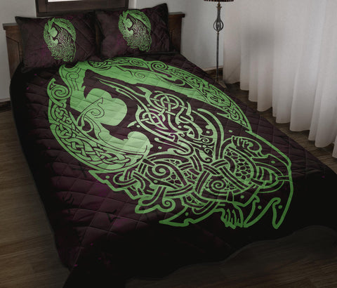 Norse Viking Quilt Bed Set - Viking Wolf Celtic Galaxy Quilt Bed Set Green