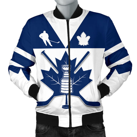 Image of Canada Hockey Maple Leaf Champion Men Bomber Jacket | Clothing | Toronto Maple Leafs