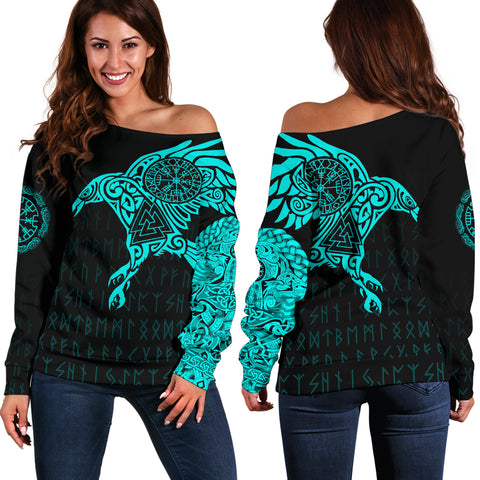 Viking Ravens Tattoo Off Shoulder Sweater A7 | 1sttheworld.com