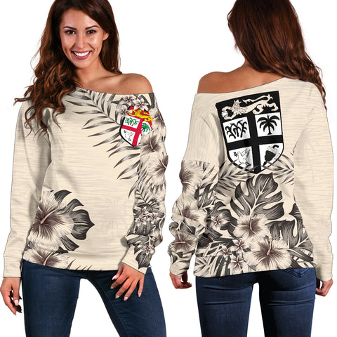 Fiji The Beige Hibiscus Off Shoulder Sweater A7