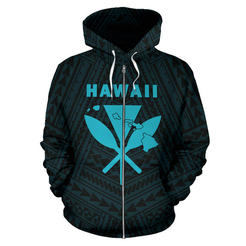 Hawaii Kanaka Polynesian Zip - Up Hoodie Blue - AH - J7