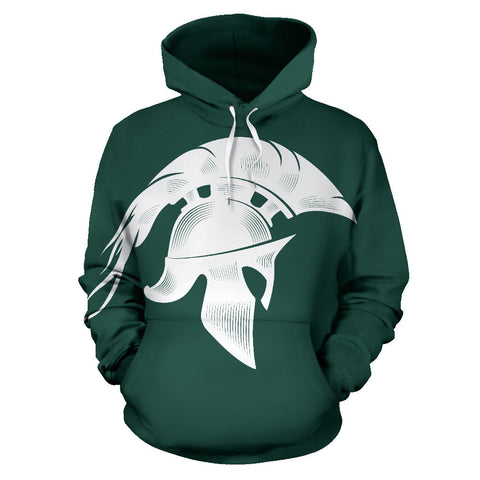 American Hoodie - Spartans Warrior - Green - Fron - For Men and Women