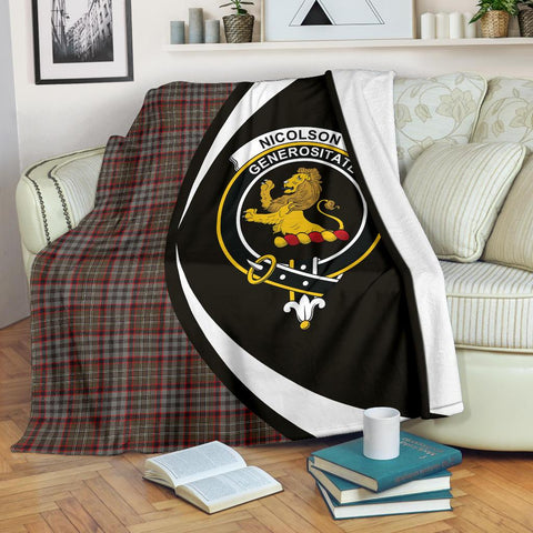Nicolson Hunting Weathered Tartan Clan Crest Premium Blanket Circle