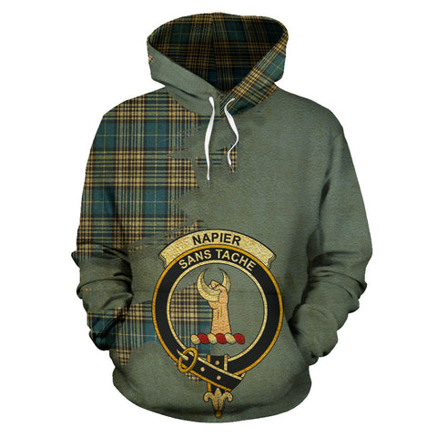 Image of Napier Ancient Clan Crest Tartan Hoodie Royal.jpg