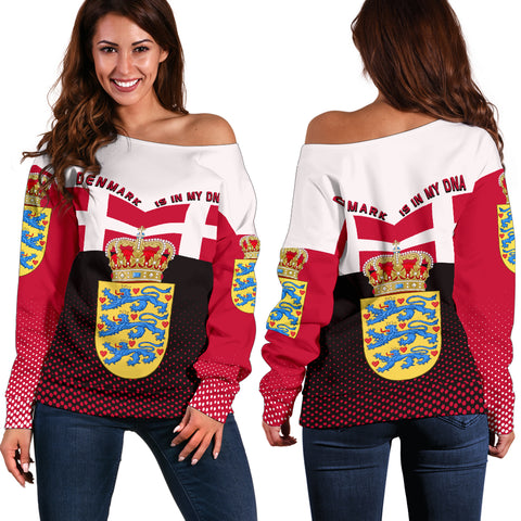 Denmark Off Shoulder Sweater - Denmark Victory - Red Mix - Front and Back - For Women