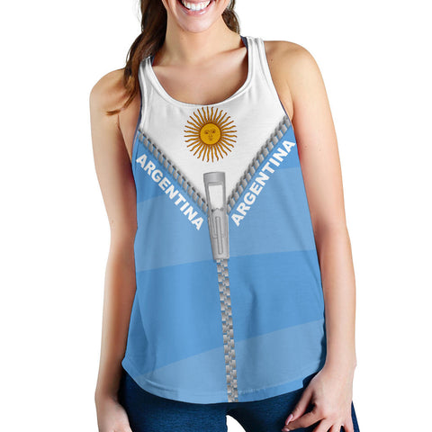 Argentina Women Racerback Tank With Straight Zipper Style K52 | 1sttheworld.com