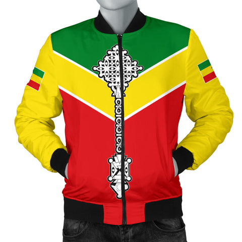 Ethiopian Bomber Jacket, Ethiopia Rising Coptic Cross Lion Men A10