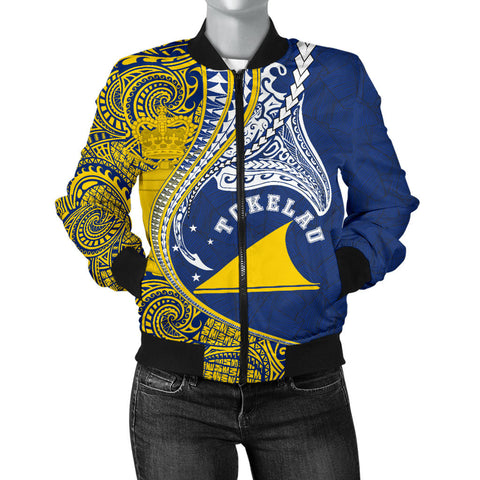 Image of Tokelau Women's Bomber Jacket Manta Polynesian