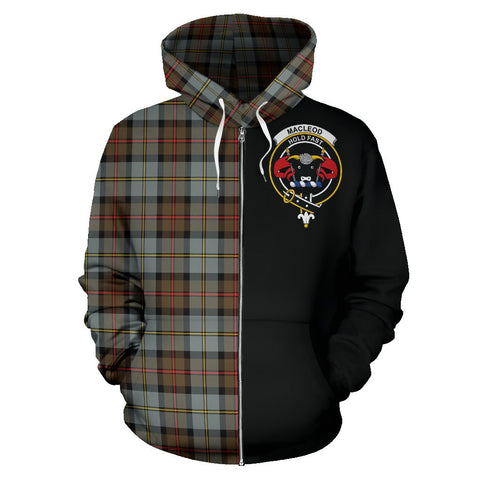 MacLeod of Harris Weathered Tartan Hoodie Half Of Me | 1sttheworld.com