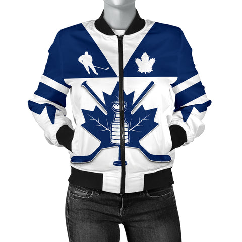 Image of Canada Hockey Maple Leaf Champion Women Bomber Jacket | Clothing | Toronto