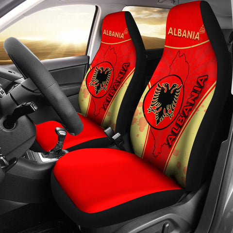 Albania Car Seat Covers Circle Stripes Flag Version | 1sttheworld