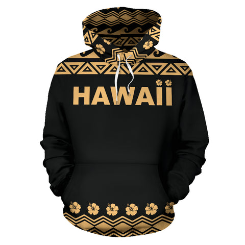 Image of Hawaii Turtle Hoodie, Tribal Hibiscus All Over Print Hoodie BN04