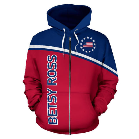Betsy Ross Flag Hoodie (Zip-Up) - Curved Style - BN14