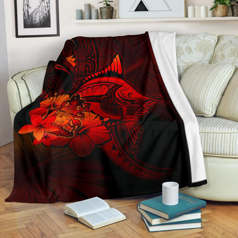 Bahamas Premium Blanket - Red Marlin and Hibiscus