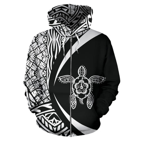 Marshall Islands Turtle Polynesian Zip Up Hoodie - Circle Style