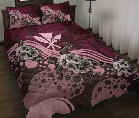 Hawaii Quilt Bed Set - Pink Turtle Hibiscus A24
