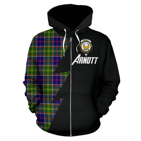 Tartan All Over Zip-Up Hoodie - Arnott Clans Badge - BN